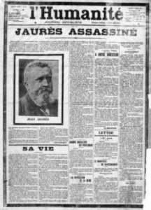 La une de l'Humanité titrant sur la mort de son directeur le 1er août 1914