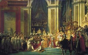 Sacre de Napoléon et de l'impératrice Joséphine le 2 déc 1804  à ND de Paris peint par JL David entre 1806 et 1807