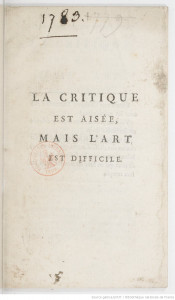 La Critique ... mais l'art 1789